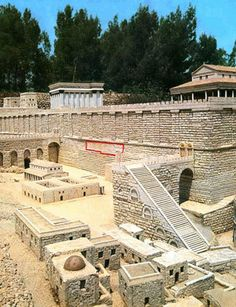 Reconstructed image of the wailing wall (red insert) depicted as part of walls surrounding the plaza of Herod's Temple