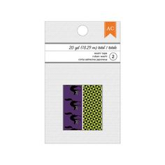 American Crafts: Black Cats on Purple, and Mint Check Halloween Washi Tapes; 20 Yd Total