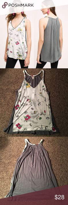 🆕 Sorcha tank Beautiful flowy tank top by Tiny for Anthropologie. Printed front and dark grey back. Twisted straps. 100% rayon. BRAND NEW WITH TAGS (as pictured). ✔️REASONABLE OFFERS ONLY✔️        🚫NO TRADING🚫 Anthropologie Tops Tank Tops