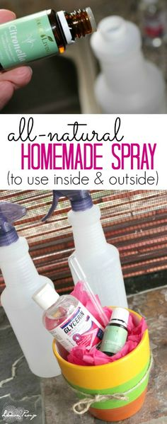 All Natural, Kid-friendly Homemade Bug Spray Recipe for indoor or outdoor use. Spray this in the corners of your house or on your legs or body outside!