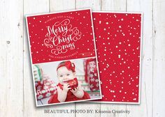INSTANT DOWNLOAD Christmas photo Card template perfect for your Holidays, beautiful design :)  This card is digital file, printable, red