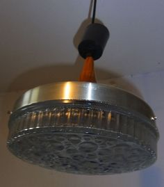 Mid Century 60´s Chrome, Wood & Crater Glass Ceiling Lamp #<