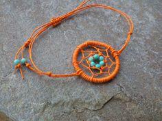 Dream Catcher Bracelet Orange beaded Hemp Turquoise Adjustable / Dreamcatcher Jewelry