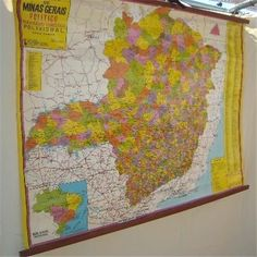 "Hanging Minas Gerais Brazil Wall Map in Spanish 46x33"" Wood Canvas School Vtg $54"
