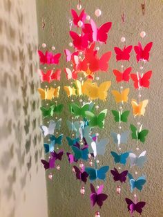 Origami mobile with rainbow butterflies by on Etsy Origami Love, Origami Fish, Origami Dragon, 3d Origami, Origami Stars, Origami Flowers, Origami Paper, Butterfly Template, Leaf Template