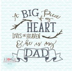 A Big Piece of my Heart Lives In Heaven He Is My Dad Quote Memory Family Loss svg dxf eps jpg ai files for Cricut Silhouette & others Missing Dad In Heaven, Dad In Heaven Quotes, My Dad Quotes, New Quotes, Family Quotes, Missing My Husband, Heart Quotes, Inspirational Quotes, True Quotes