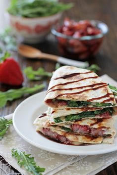 We really want to try these Roasted Strawberry, Brie & Arugula Quesadillas on our #GlutenFree Tortillas!