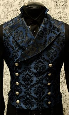 Blue brocade double breasted vest -Shrine clothing