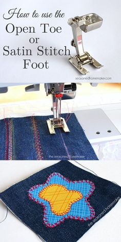 Sewing Machine Feet: Do you love to use decorative stitches? How about appliqué? If so, then you need a Satin Stitch/Open Toe Foot. The groove on the back makes it perfect for sliding over dense stitches.