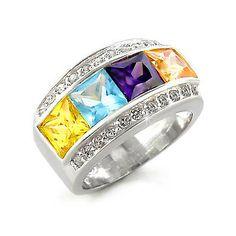 Silver Ring Band with Multi-Color Zirconia - Fine Jewellery Gift, VORI03-01638