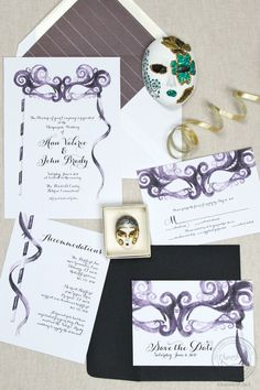 Let this masquerade invitation set the mood for your epic wedding party! Update the colors and fonts to work for a renaissance or medieval wedding, a halloween wedding, new years wedding, or any grand balls!