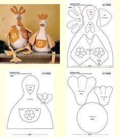 Moldes Para Artesanato em Tecido: galinha com molde
