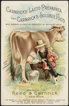 Charming vintage baby food ad and trade card featuring a cow being milked, a baby and a cat getting a bit of milk directly from the cow. Public domain in US. Vintage Diy, Images Vintage, Vintage Farm, Vintage Labels, Vintage Ephemera, Vintage Pictures, Vintage Signs, Vintage Postcards, Binder Labels