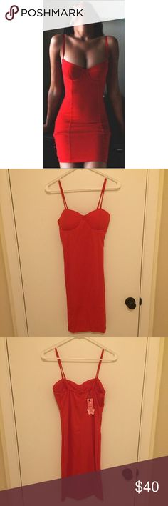 """NWT red hot sexy bodycon dress  this super sexy dress is approx 35"""" long and has lightly padded cups for extra push-up. Stretchy yet form fitting material. Price firm, ships same or next day. boutique Dresses Prom"""