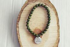 Olive Green Bead Bracelet | Charm Bracelet | Mens Beaded Bracelet | Wooden Bead Bracelet Handmade Bracelets, Bracelets For Men, Handmade Gifts, Beaded Necklace, Beaded Bracelets, Bracelet Sizes, Bracelet Designs, Wooden Beads, Antique Silver