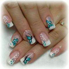 Hot Trendy Nail Art Designs that You Will Love Spring Nail Art, Nail Designs Spring, Gel Nail Designs, Spring Nails, Nails Design, Fingernail Designs, Butterfly Nail Designs, Butterfly Nail Art, Nail Pictures