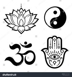 """Set of Hamsa hand drawn symbol, lotus flower, Yin-Yang and OM sigils. Decorative pattern in oriental style for interior decoration and henna drawings. The ancient sign of """"Hand of Fatima"""". Undercut Tattoos, Buddhism Tattoo, Henna Drawings, Yin Yang Tattoos, Hand Tattoo, Free Stencils, Oriental Style, Hand Of Fatima, Sea Monsters"""