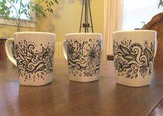 Doodled mugs Sharpie Crafts, Sharpie Mugs, Sharpies, Coffee Mug Quotes, Coffee Mugs, Ceramic Painting, Painted Ceramics, Sharpie Mug Designs, Oil Based Sharpie