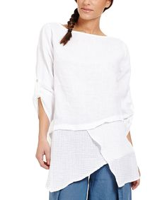 Look what I found on #zulily! Couleur Lin White Linen Asymmetrical Tunic by Couleur Lin #zulilyfinds