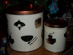 Vintage Kitchen Canister Set of 2  Copper Tops by JunkyardElves, $11.95