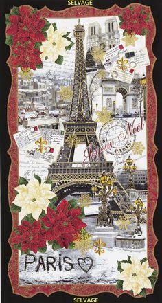 April in Paris Joyeux Noel Panel Gold Metallic by Timeless Treasures Fabrics, @sewtimeless. Christmas Paris Eiffel Tower fabric panel.