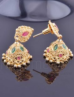 Jhumkas with Traditional Gold Plating Design