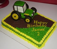 John Deere Tractor Cake....use a toy tractor instead