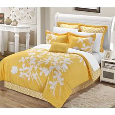 Chic Home Ayesha Comforter Bed in a Bag Set (Yellow - King), White (Microfiber, Floral) Yellow Gray Bedroom, Yellow Bedding, Bedroom Red, Bedroom Decor, Bedroom Ideas, Dream Bedroom, Gold Comforter Set, Comforter Sets, Floral Comforter
