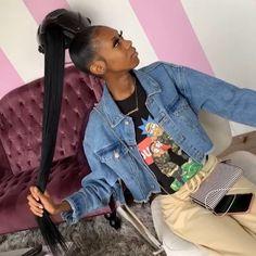 Cute Box Braids Hairstyles, Baddie Hairstyles, Black Girls Hairstyles, Weave Hairstyles, Slick Hairstyles, Natural Hairstyles, Curled Ponytail, Slick Ponytail, Ponytail Styles