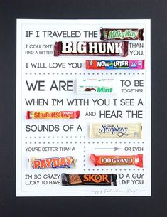 Great Valentine's gift for husbands, guys, teens, boyfriends, etc. Cheap and easy! gift for guys Free printable Valentine's Day candygram (candy poster) - It's Always Autumn Valentines Card For Husband, Valentines Day Gifts For Friends, Birthday Gifts For Husband, Grandpa Birthday, Kids Valentines, Candy Birthday Cards, Birthday Diy, Birthday Ideas, Birthday Quotes