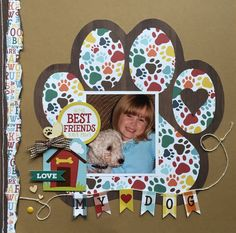 My Dog - Scrapbook.com dog scrapbook layout using Echo Park Dog Collection kit