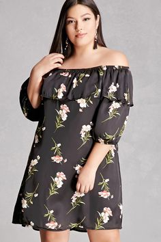 Forever 21+ - A satin dress featuring an allover floral print, an elasticized off-the-shoulder neckline with a flounce layer, 3/4 sleeves with elasticized cuffs, and a shift silhouette. This is an independent brand and not a Forever 21 branded item.