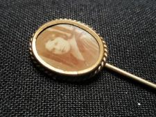 Victorian Photo Stick Pin Gold Washed Mourning