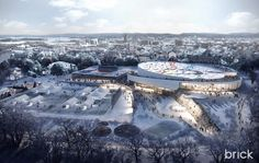 Jordal Amfi Ice Hockey Arena, Oslo 2022 Winter Olympics on Behance Cultural Architecture, Landscape Architecture Design, Amazing Architecture, Architecture Board, 3d Architectural Visualization, Architecture Visualization, Impression 3d, 2022 Winter Olympics, Building Rendering