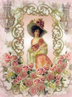 Crystal Roses Victorian Lady Wall Hanging