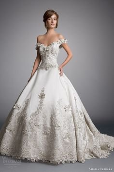 amalia carrara eve of milady 2014 off shoulder ball gown wedding dress style 328