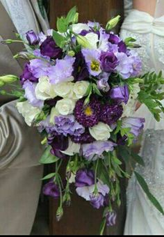 Paars lila wit boeket