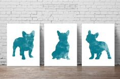 French Bulldogs, Teal decor, Blue Dog Silhouette, Turquoise Kids room posters, Frenchie, Set of 3, Wall painting