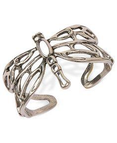 Lucky Brand Bracelet, Silver-Tone Dragonfly Cuff Bracelet