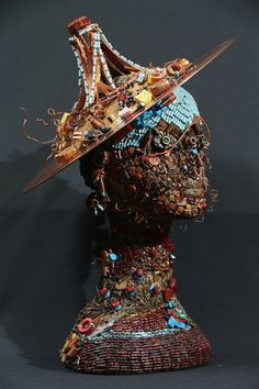 Bust made from recycled electronics