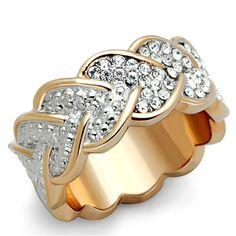 CJG2657 Rose Gold Lust Pave Crystal Heart Eternity Ring