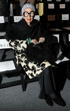 Iris Apfel attends the Joanna Mastroianni Fall 2012 fashion show during Mercedes-Benz Fashion Week at The Studio at Lincoln Center on Februa...