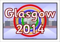 A colour poster heading for your Glasgow 2014 Commonwealth Games classroom display. Katie Morag, Commonwealth Games, Free Teaching Resources, Classroom Displays, Glasgow, School Stuff, Scotland, Sporty, Posters