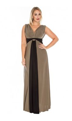 Plus Size Grecian Maxi Dress Mocha & Black by Curvety  I found some good Greek summer dress tips here: http://cheapsummerdresses.net/2015/03/colorful-grecian-knot-dresses-perfect-for-all-body-types/