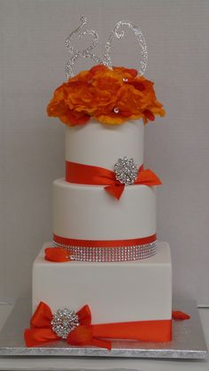Love the Orange & Bling on this 80th Birthday Cake