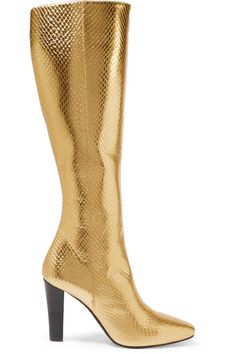 10/13/16 Saint Laurent | Lily metallic snake-effect leather knee boots