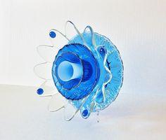 Glass Flower Garden Art Yard Decor Sun Catcher Reclaimed Material Mothers Day Gift Idea TAISIE