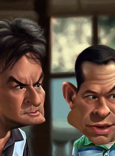Charlie Sheen & Jon Cryer (Two and a Half Men) - illustration by Alex Gallego #Caricature - http://dunway.com  13.5. 2016 www.nco.is IoT, www.netkaup.is