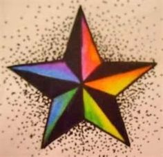 Colorful nautical star tattoo