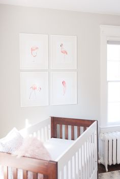 Modern Nursery with a Pop of Pink That two-toned crib! Baby Girl Nursery Decor, Baby Bedroom, Nursery Design, Nursery Room, Nursery Ideas, Elephant Nursery, Flamingo Nursery, Blush Nursery, Nursery Neutral